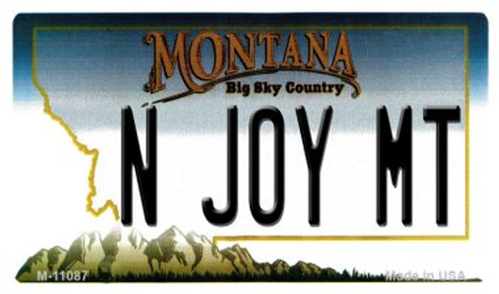 N Joy MT Montana State License Plate Novelty Magnet M-11087