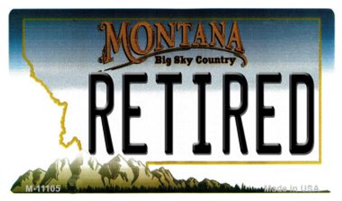Retired Montana State License Plate Novelty Magnet M-11105