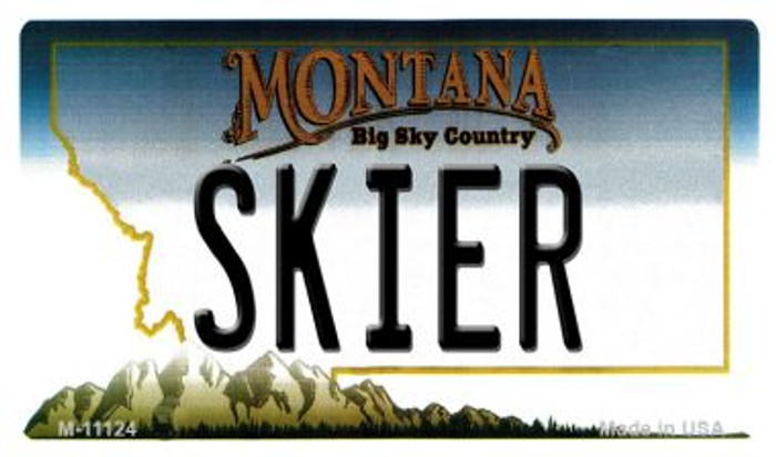 Skier Montana State License Plate Novelty Magnet M-11124