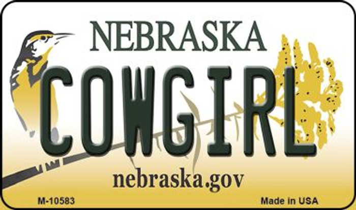 Cowgirl Nebraska State License Plate Magnet M-10583