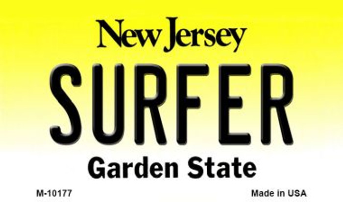Surfer New Jersey State License Plate Magnet M-10177