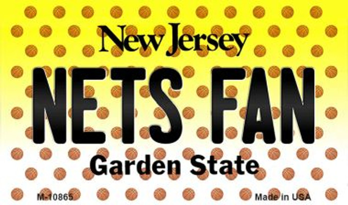 Nets Fan New Jersey State License Plate Magnet M-10865