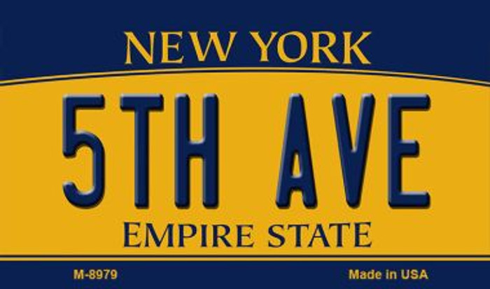 5th Ave New York State License Plate Magnet M-8979