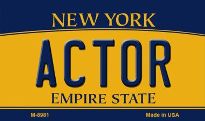 Actor New York State License Plate Magnet M-8981