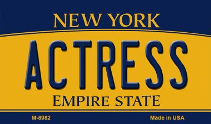 Actress New York State License Plate Magnet M-8982