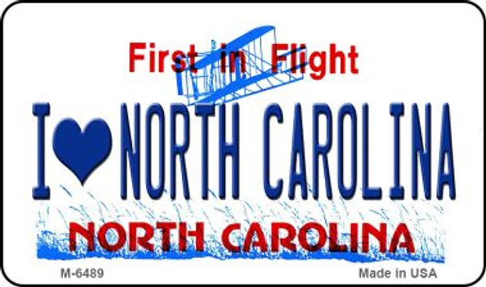 I Love North Carolina State License Plate Magnet M-6489