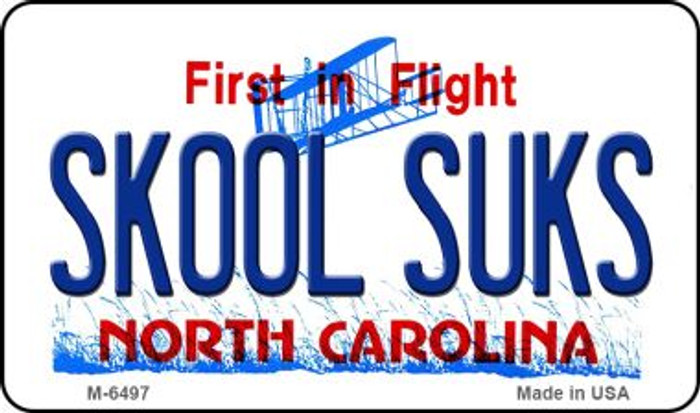 Skool Suks North Carolina State License Plate Magnet M-6497