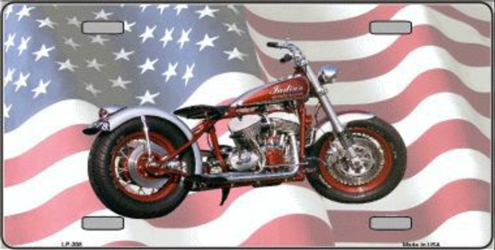 Indian Motorcycle American Flag Metal Novelty License Plate