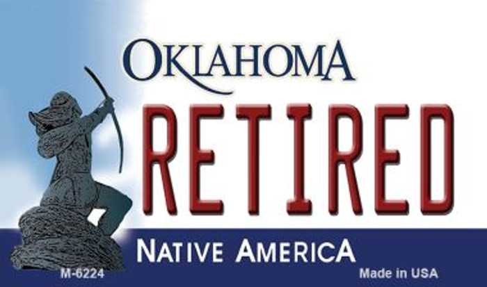 Retired Oklahoma State License Plate Novelty Magnet M-6224