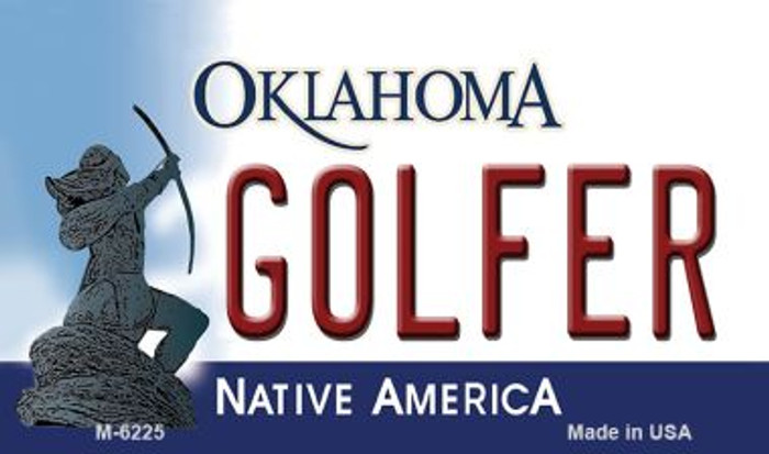 Golfer Oklahoma State License Plate Novelty Magnet M-6225