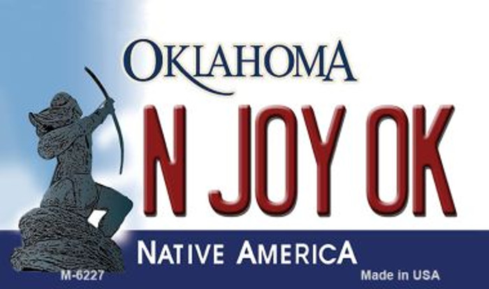 N Joy OK Oklahoma State License Plate Novelty Magnet M-6227