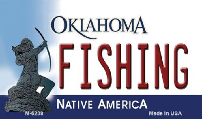 Fishing Oklahoma State License Plate Novelty Magnet M-6238
