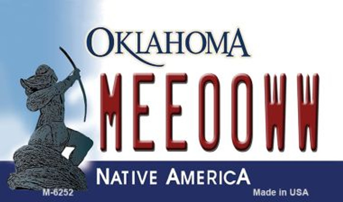 Meeooww Oklahoma State License Plate Novelty Magnet M-6252