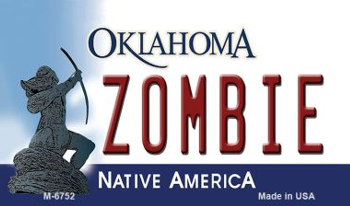 Zombie Oklahoma State License Plate Novelty Magnet M-6752