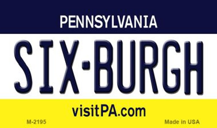 Six-Burgh Pennsylvania State License Plate Magnet M-2195