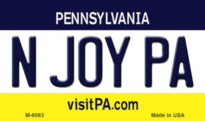 N Joy PA Pennsylvania State License Plate Magnet M-6063