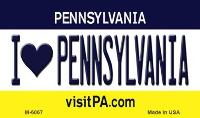 I Love Pennsylvania State License Plate Magnet M-6067