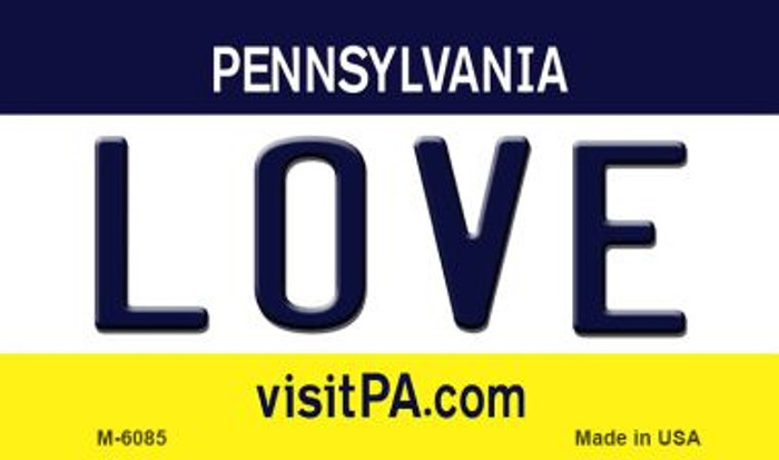 Love Pennsylvania State License Plate Magnet M-6085