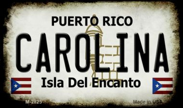 Carolina Puerto Rico State License Plate Magnet M-2825