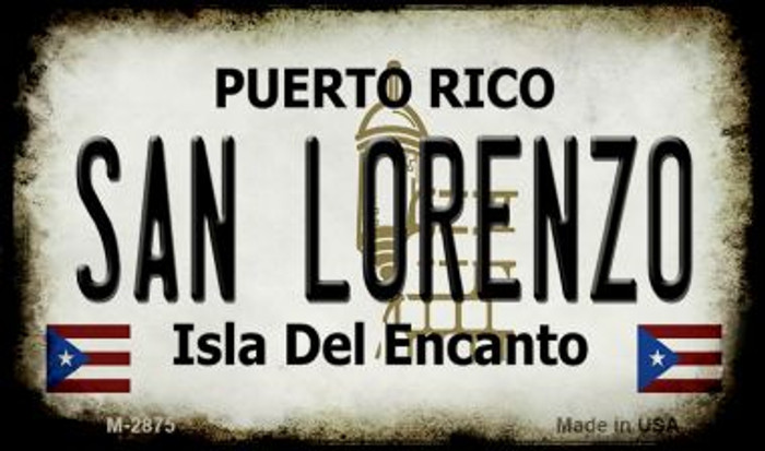 San Lorenzo Puerto Rico State License Plate Magnet M-2875