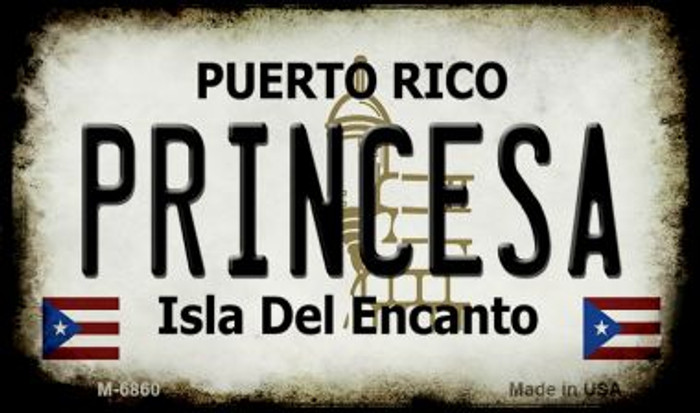 Princesa Puerto Rico State License Plate Magnet M-6860