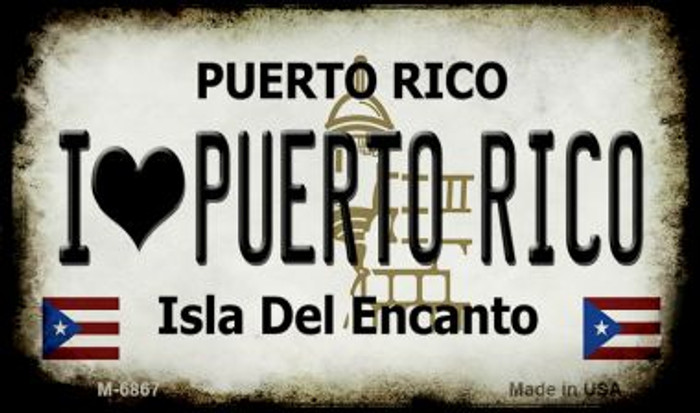 I Love Puerto Rico Puerto Rico State License Plate Magnet M-6867