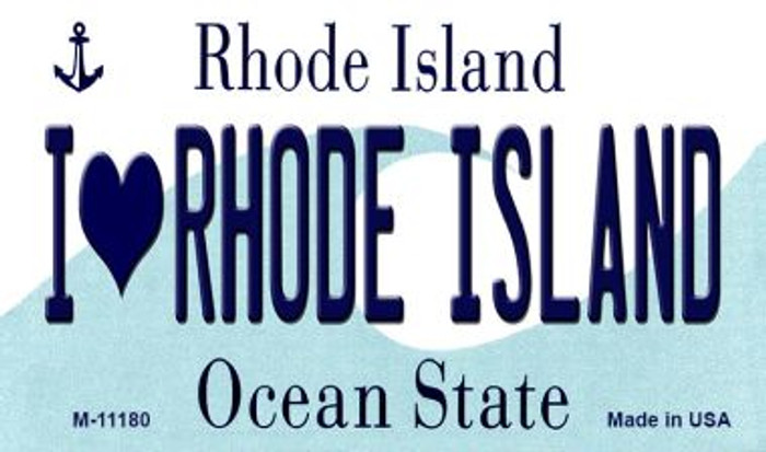 I Love Rhode Island State License Plate Novelty Magnet M-11180