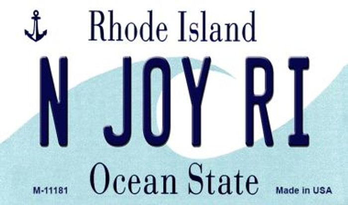 N Joy RI Rhode Island State License Plate Novelty Magnet M-11181