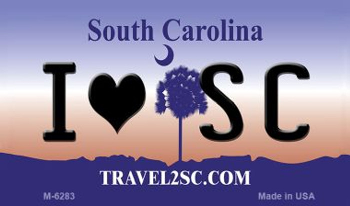 I Love SC South Carolina State License Plate Magnet M-6283