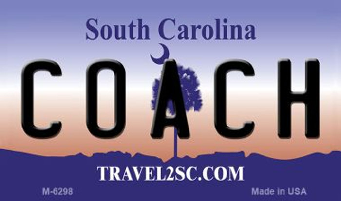 Coach South Carolina State License Plate Magnet M-6298