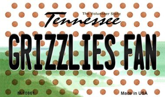Grizzlies Fan Tennessee State License Plate Magnet M-10861