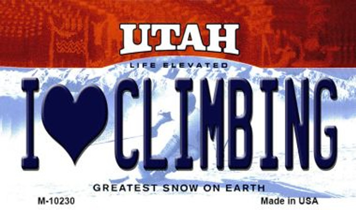 I Love Climbing Utah State License Plate Magnet M-10230