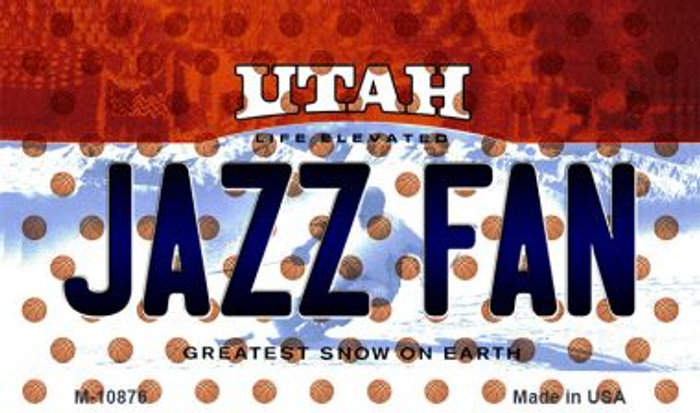 Jazz Fan Utah State License Plate Magnet M-10876