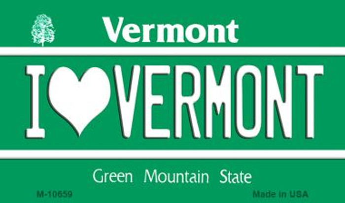 I Love Vermont State License Plate Novelty Magnet M-10659