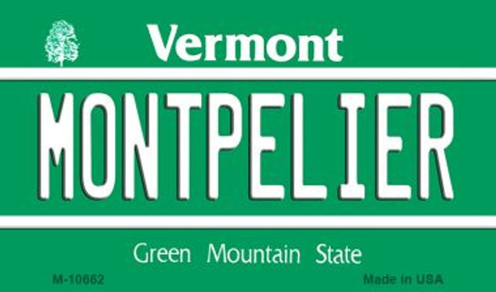 Montpelier Vermont State License Plate Novelty Magnet M-10662
