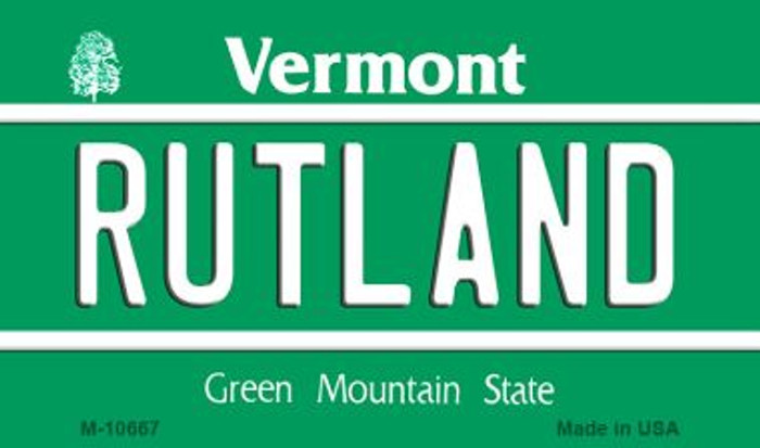 Rutland Vermont State License Plate Novelty Magnet M-10667