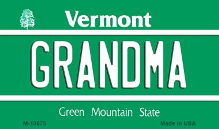 Grandma Vermont State License Plate Novelty Magnet M-10675