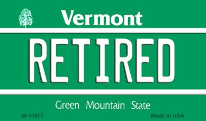 Retired Vermont State License Plate Novelty Magnet M-10677
