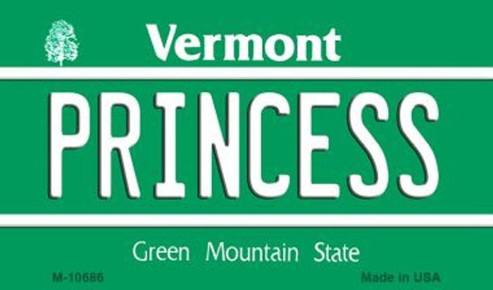 Princess Vermont State License Plate Novelty Magnet M-10686