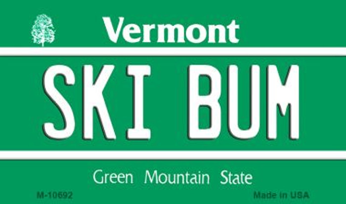 Ski Bum Vermont State License Plate Novelty Magnet M-10692