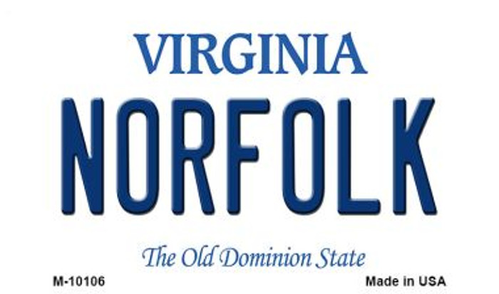 Norfolk Virginia State License Plate Magnet M-10106