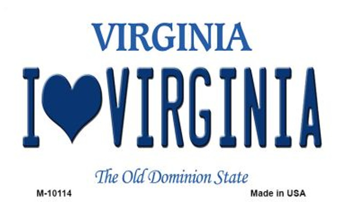 I Love Virginia State License Plate Magnet M-10114