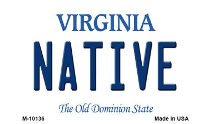 Native Virginia State License Plate Magnet M-10136
