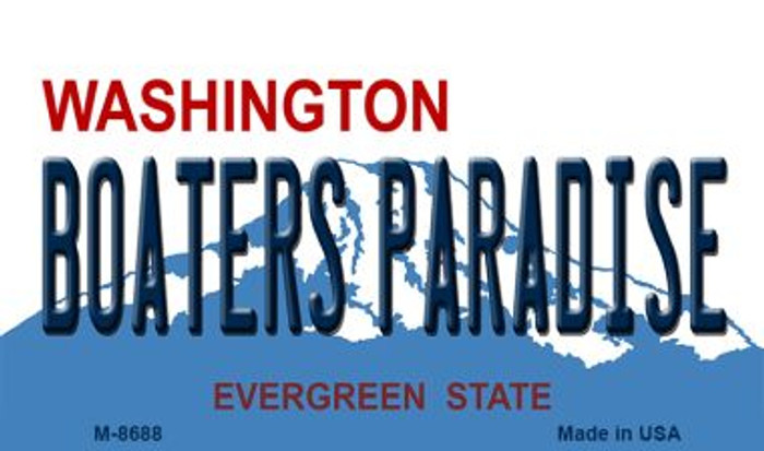 Boaters Paradise Washington State License Plate Magnet M-8688