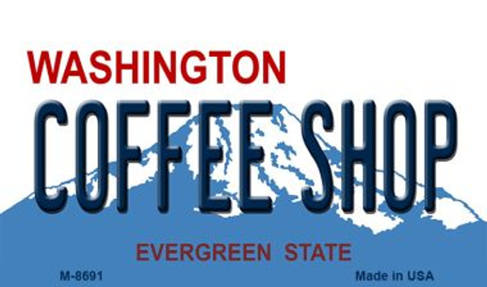 Coffee Shop Washington State License Plate Magnet M-8691