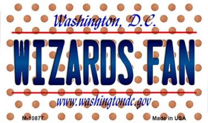 Wizards Fan Washington DC State License Plate Magnet M-10877