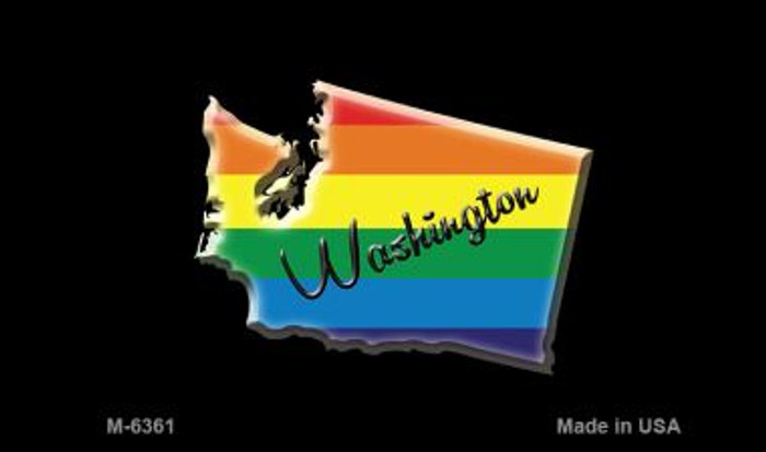 Washington State Outline Rainbow Magnet M-6361