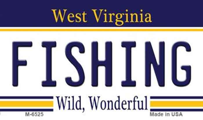 Fishing West Virginia State License Plate Magnet M-6525
