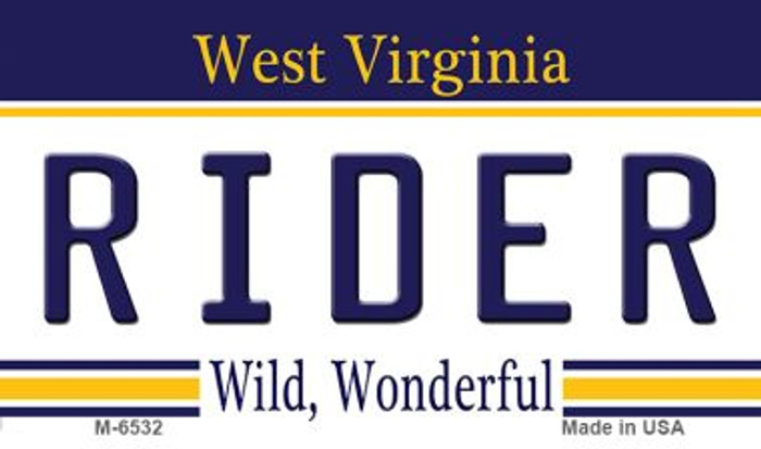 Rider West Virginia State License Plate Magnet M-6532