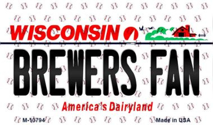 Brewers Fan Wisconsin State License Plate Magnet M-10794
